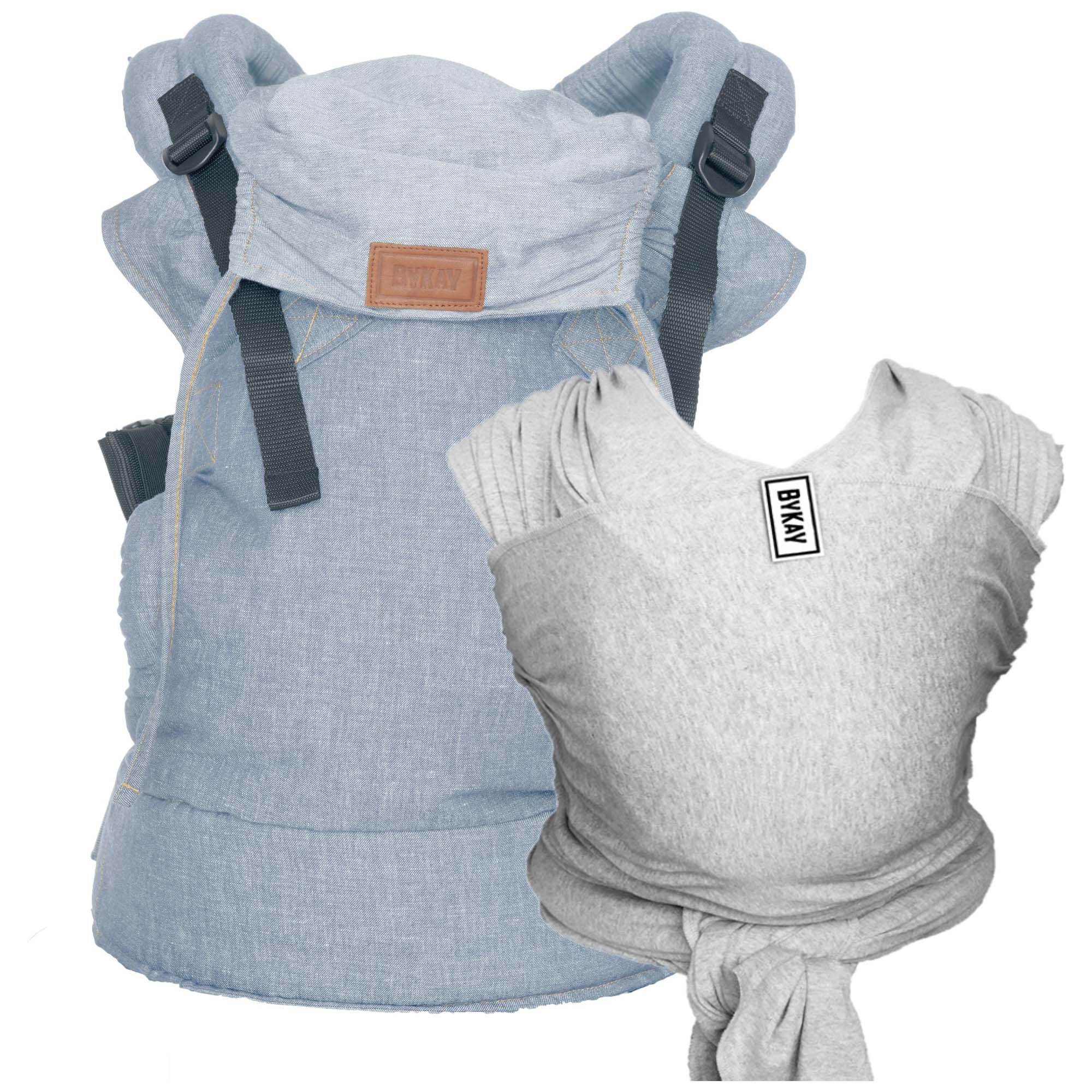 Bykay Stretchy Wrap Classic Draagdoek Grey Click Carrier Deluxe Draagzak
